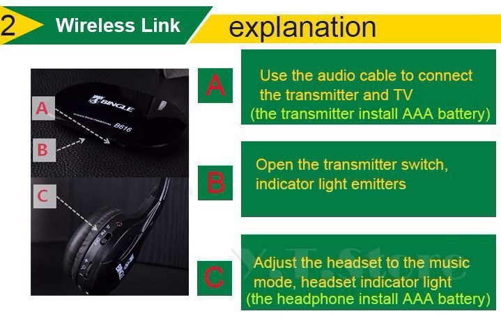 Bingle B610W 30 Meter Super Long Wireless Transmission Multifunction Wireless Headset Headphone with FM Radio for PC TV Audio