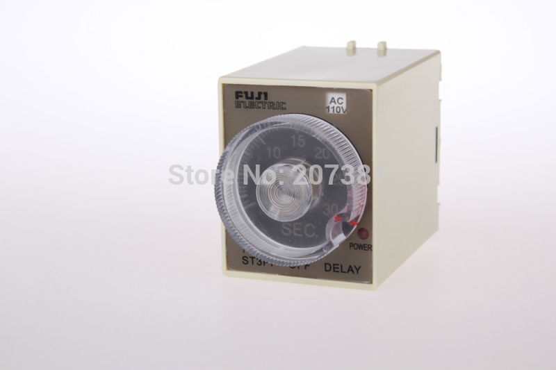Free shipping 24V DC power off delay timer time relay 3 minutes ST3PF and base(China (Mainland))