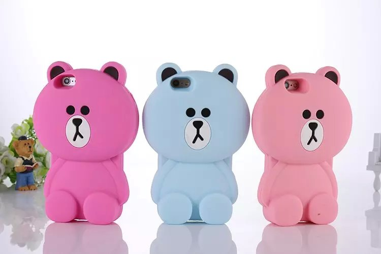 2015 Newest Lovely 3D Cute Soft Silicone Brown Teddy Bear Back Case Cover For iphone 6 6S 6+ iphone6 plus 5 5S()