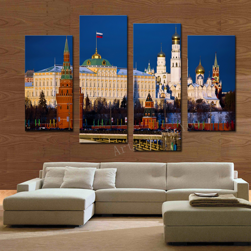 store product Hot Sell  panel Classical Architecture Large HD Decorative Art Print Painting On Canvas For Living