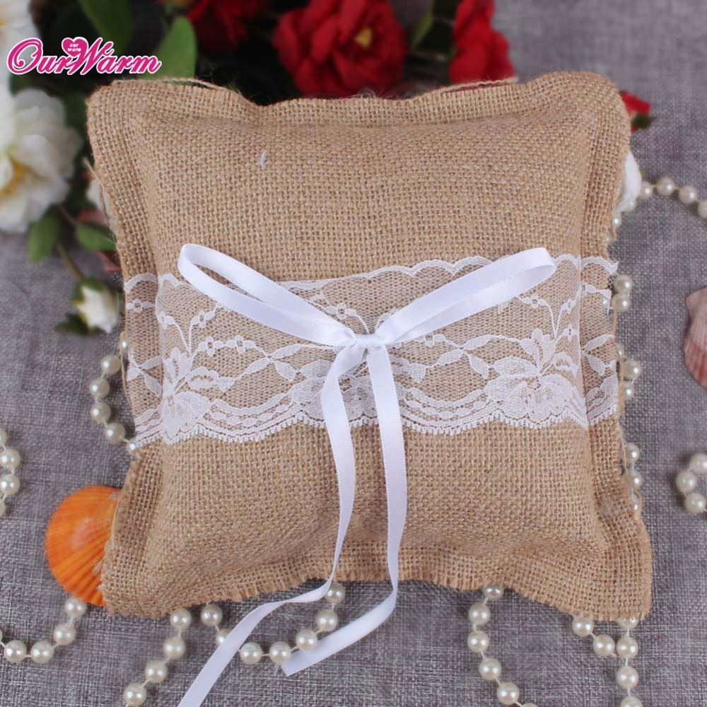 Burlap Ring Pillow Bow lace ribbon Wedding Decorations Bridal flower fairy Party Colors(China (Mainland))