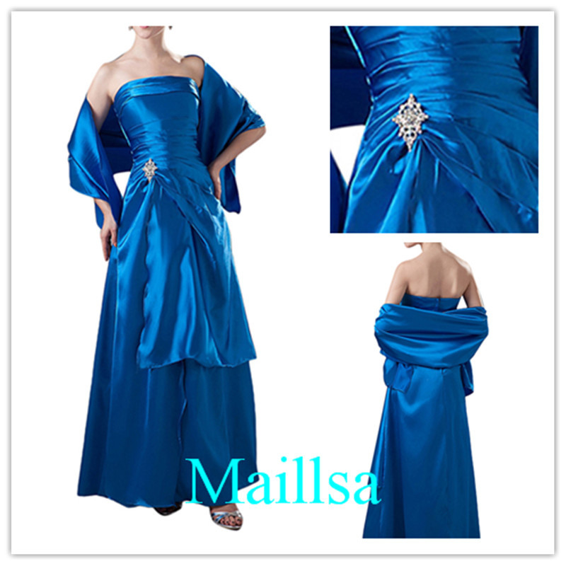 2015 New Top Fashion Best Selling New Arrival Strapless Blue Color Satin material Floor Length Dress with pin and Shawl stola(China (Mainland))