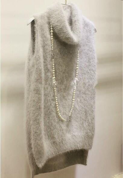 Подлинной норки кашемировый свитер женщины кашемир жилет чистого норки жилет свитер ...