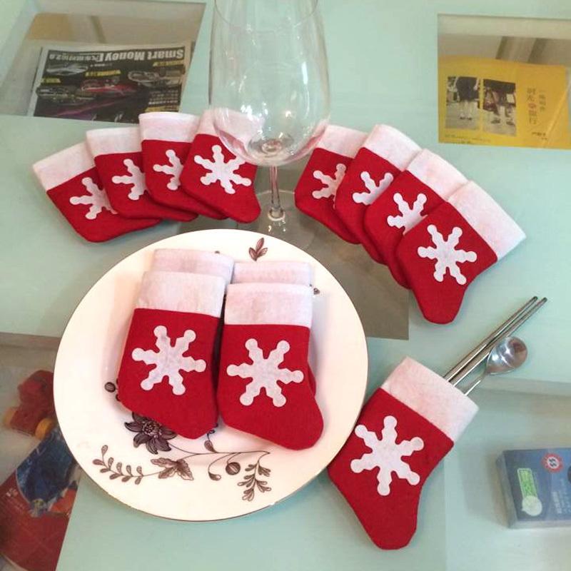 12pcs Mini Christmas Stocking Dinnerware Cover Xmas tree decorations Free Shipping(China (Mainland))