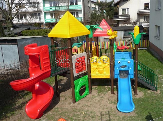 Hot Sold To Poland Top Quality Children Playground Outdoor CE Certificated Plastic Playground Set HZ-SP05 Golden Factory(China (Mainland))