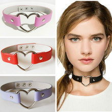1 PCS Women Lady Favorite Punk Goth Harajuku Grunge Leather Rivet Heart Funky Torques Collar Gothic Choker Necklace Fine Jewelry(China (Mainland))