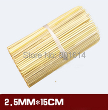 300pcs/lot 2.5mm*15cm Bamboo Wooden BBQ Party Skewers Disposable Sticks BBQ tools natural BAMBOO SKEWERS Barbecue Stickers(China (Mainland))