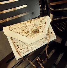 White Hollow Envelope Evening Clutch Red Women Chain Leather Envelope Handbags 2015 Women Messenger Bags Purse