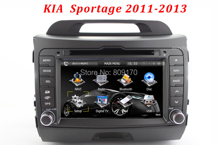 Kia Sportage 2011-2013 Car DVD Player GPS with Radio RDS TV BT iPod  Russian OSD menu,Free Navitel Map / TV Antenna !!(China (Mainland))