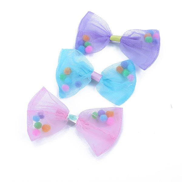 NEW Kids Baby Bowknot Pin Girl Lace Headwear Hair Clips Headdress Pink(China (Mainland))