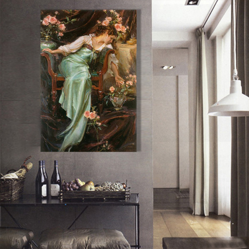 Cheap sale lady figure oil painting handed painted on for Cheap house decorations for sale