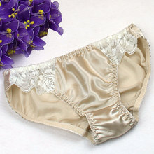3pcs/lot women pure silk sexy panties 100% silk briefs for lady women with lace underwear high quality(China (Mainland))