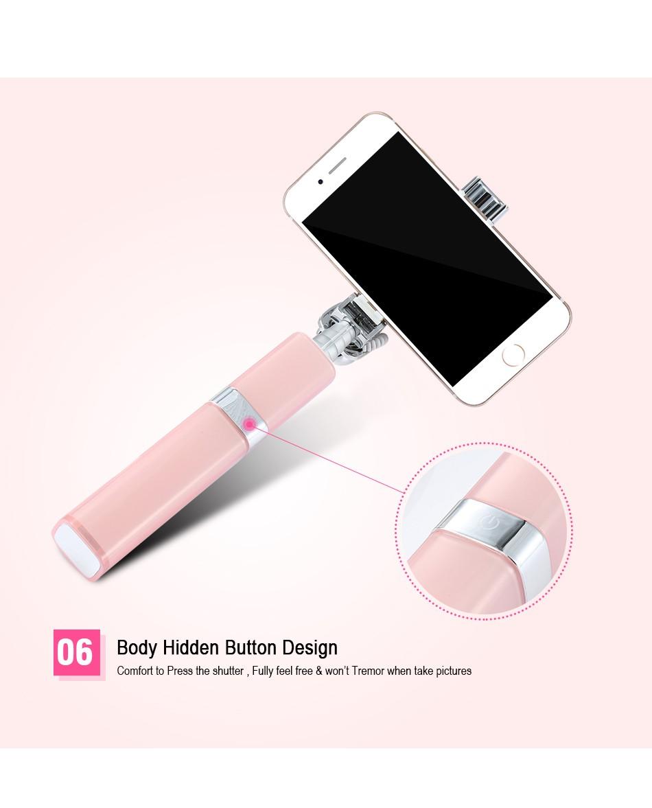 Fashion Extendable Mini Camera Selfie Lipstick Stick For iPhone Samsung HTC Huawei Flexible Folded Wired Monopod Tripod Sticks