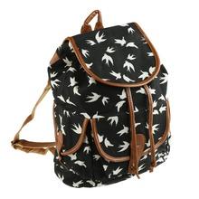Black Shoulder Schoolbag Large Capacity Graffiti Backpack Cartoon Bird Book bag Rucksack Outdoor Travel Bag(China (Mainland))