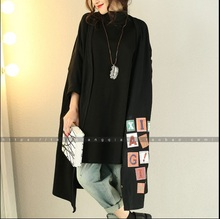 2016  female new spring and autumn outerwear print letter  long plus size plus size long  all-match  loose cotton  cardigan(China (Mainland))