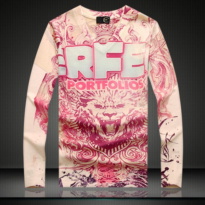 Lion 3D Print Men s Knitwear Thick T Shirt Winter Undershirt Long Sleeve Pullover 2016 Autumn