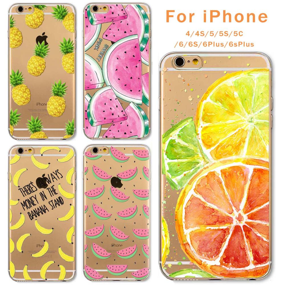 Мягкий кремния тпу прозрачный фрукты ананас лимон банан мода тонкий чехол для Apple , iPhone 4 4S 5 5S 5C 6 6 s плюс 6 плюс