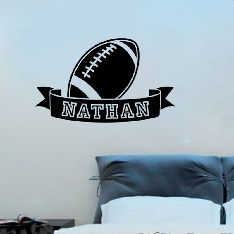 Personalized American Football Wall Stickers Any Name Removable Art Vinyl Wall Decals For Kids Room(China (Mainland))