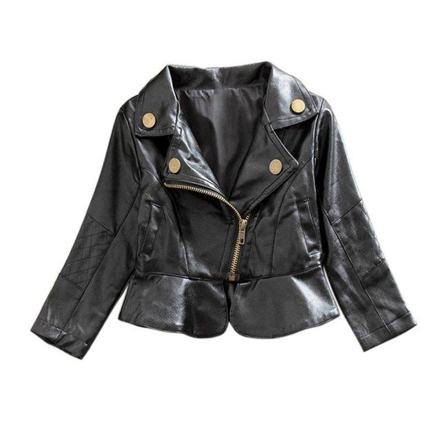 Новая Мода Зима Стиль Новорожденных Девочек Пальто Черный Малышей Теплая Куртка Искусственная Кожа Детей И Пиджаки DH