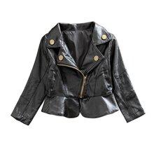 Новая Мода Зима Стиль Новорожденных Девочек Пальто Черный Малышей Теплая Куртка Искусственная Кожа Детей И Пиджаки DH(China (Mainland))