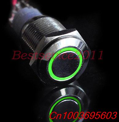 10pcs Momentary 16mm Car Boat Green 12V LED Angel Eye Push Button Metal Switch<br><br>Aliexpress