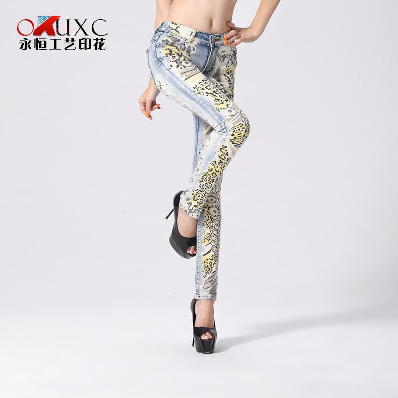 New fall yellow leopard scrawl print skinny american apparel jeans pants denim suit slim body female sexy women jeans(China (Mainland))