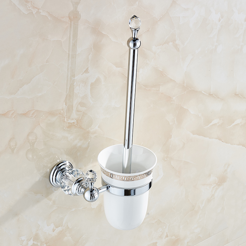 wall mounted brass crystal toilet brush holder ceramic cup white brush golden bathroom