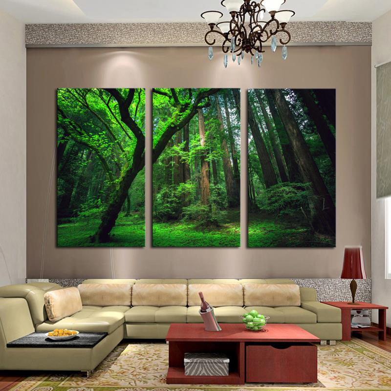3 Panels Green Forest HD Canvas Print Painting Artwork Modern Home Wall Decor Painting Canvas Art HD Picture On Canvas Prints(China (Mainland))