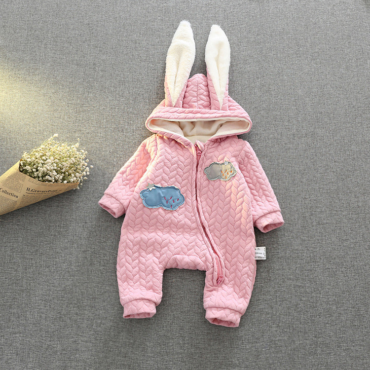 2016 winter baby bodysuit Rabbit cotton Hooded jacket baby jumpsuit One Pieces children's Boy girl clothing Q2082