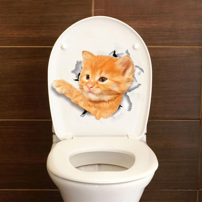 Cat Dog Toilet Seat 3D Sticker Bathroom Wallpaper Decal Removable PVC Wall Stickers For Home Decoration Supplies(China (Mainland))