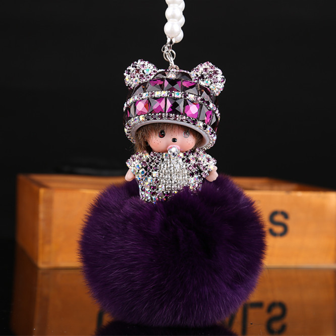 New Cute Crystal Monchichi Dolls Auto accessories is hanged adorn car Leather Creative Women charm pendant porte clef(China (Mainland))