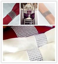 "Hot Sale 50Pcs Silver 1.5"" 8Rows Sparkly Diamond Rhinestone Mesh Bow Covers Napkin Ring Wedding Chair Sashes Decorative Crafts(China (Mainland))"