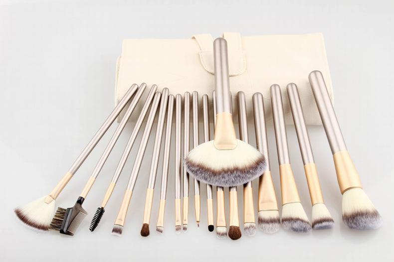 18pcs/set Professional Makeup brush kit Foundation Powder Blush Eyeliner Brushes Roll Leather Case - CARELIF e-store store