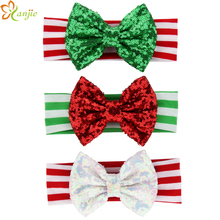 Free Shipping 15pcs/lot  5'' Big Messy Sequin Bow Striped Headband For Baby and Kids Christmas Hairbands(China (Mainland))