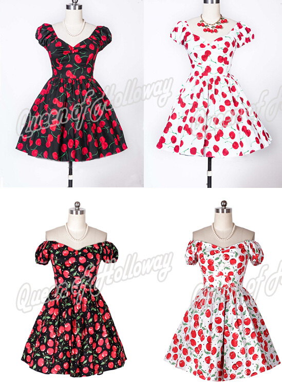 0044-1950s pinup audrey Hepburn retro vintage rockabilly women's Classy flora cherry puff sleeve dress plus size UK8-24(China (Mainland))