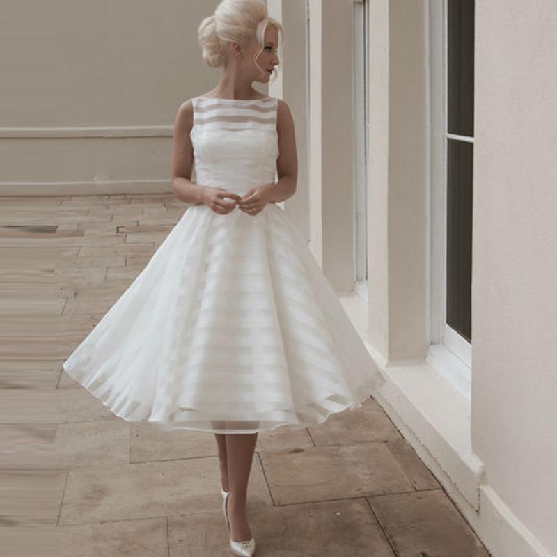 Buy 2016 gorgeous scoop neck tea length for Wedding dresses short length