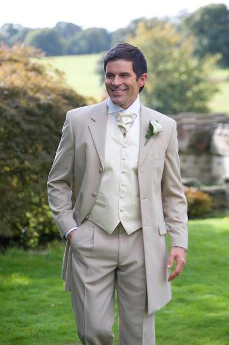 Classic Style Three Button Beige Groom Tuxedos Groomsmen Men's Wedding Prom Suits Custom Made (Jacket+Pants+Vest+Tie) K:328