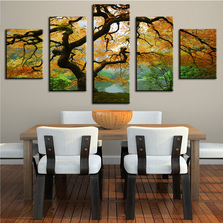 DP ARTISAN 5 PANELS Tree Spray Wall pictures for living