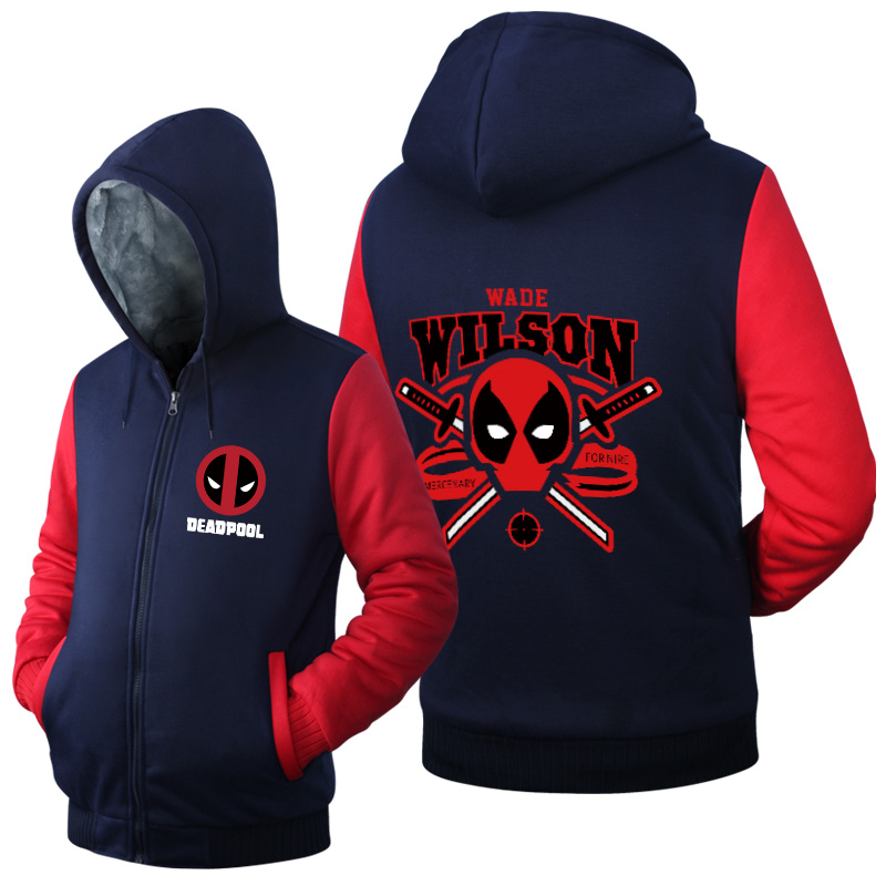 New Deadpool Super Warm Thicken Fleece Zip Up Hoodie Men's Coat Free Shipping Wade Wilson movie cotton NEW Red USA Size