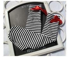 free size 2~8 year toddler kids Children striped cotton socks bowknot knee high baby socks Princess socks free shipping(China (Mainland))