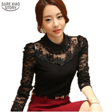 Buy 2016 Autumn Sexy Lace Tops blusas new Slim Plus size lace blouse long sleeve Casual shirt beaded openwork Women clothing 3XL for $9.83 in AliExpress store