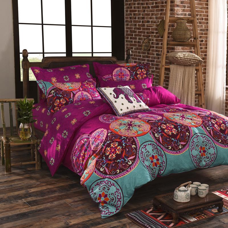 vintage boho impreso funda nrdica juego de cama floral ropa de cama de textiles para el