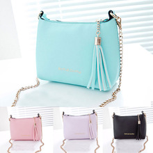 New Fashion 2016 Shell PU Leather Women Handbag Chain Women Shoulder Bag Tassel Crossbody Messenger Bags For Women Candy Color