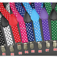 BD015--2.5*65CM Dots Print Baby suspenders Fashion 3 clips kids pant suspenders for 1-8 years boys and girls free shipping