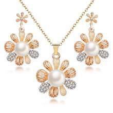 בציר חיקוי פרל שרשרת זהב תכשיטים לנשים צלול מפלגה מתנת אופנה סטי תכשיטים(China)