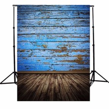 3X5FT Vintage Wood Floor Photography Background Retro Blue Board Photographic Backdrops For Studio Photo Props cloth 90 x 150cm(China (Mainland))
