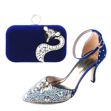 Royal blue D'orsay pointed toe crystal woman dress shoes with matching fox flock clutch bag handbag for wedding party event sexy(China (Mainland))