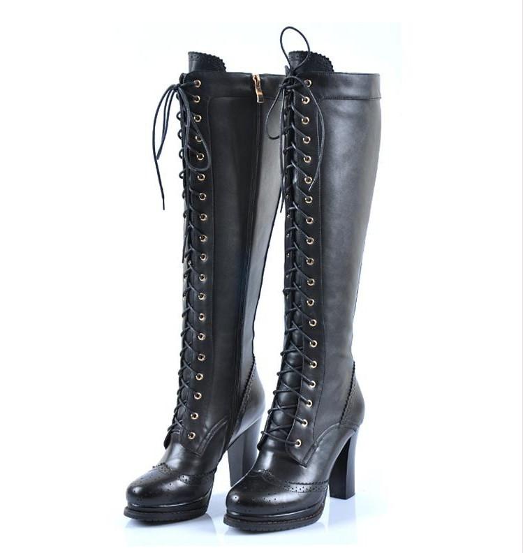 sheepskin retro real leather lace up block heel