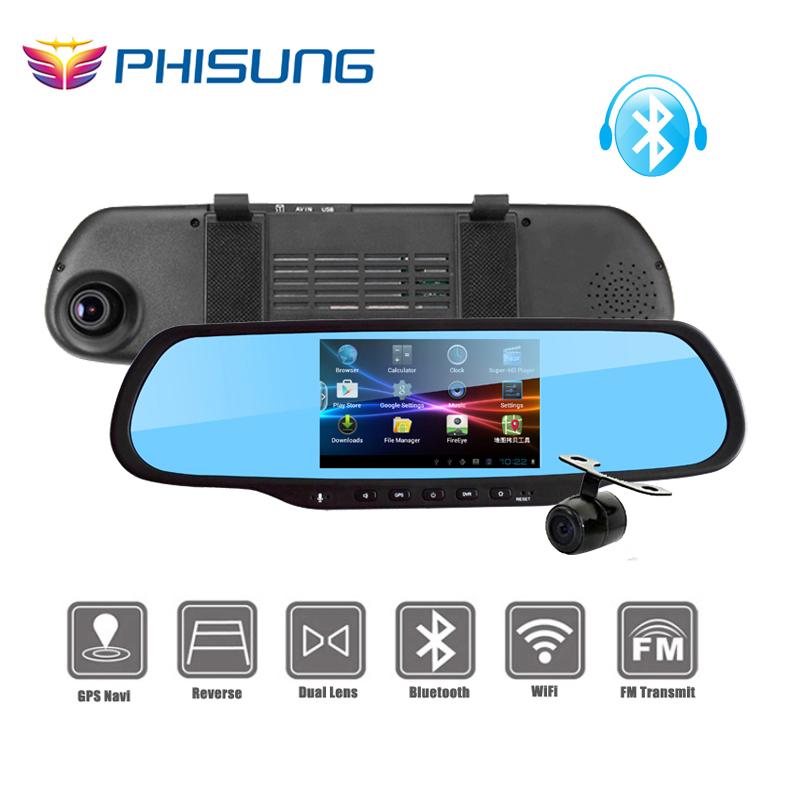 Car Mirror 5.0″ Dual Cam DVRS 1GB RAM 8GB ROM WiFi FM GPS Navigation Bluetooth