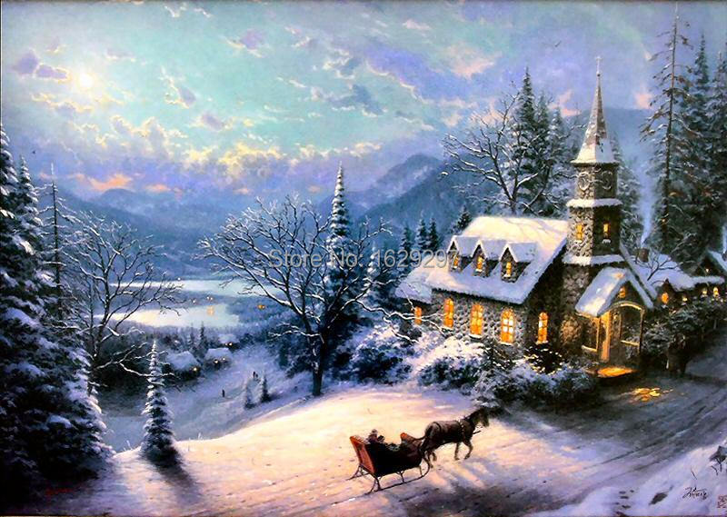 Sunday Evening Sleigh Ride by thomas kinkade Painting Reproduction,High quality,oil on canvas,Modern Art, Landscape,Hand-painted(China (Mainland))